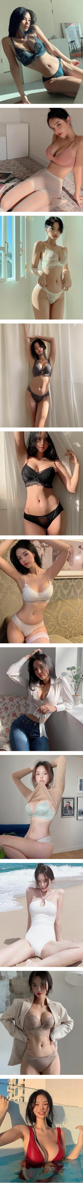 섹시함을 과시하는 란제리 모델녀의 은꼴 몸매